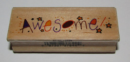 """Awesome Rubber Stamp Stars Wood Mounted Westwater Enterprises 2.75"""" Long  - $2.96"""