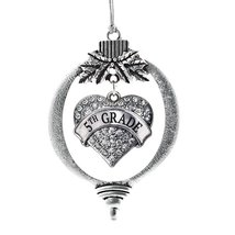 Inspired Silver 5th Grade Pave Heart Holiday Christmas Tree Ornament With Crysta - €12,80 EUR