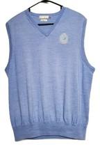 Peter Millar Sweater Vest Blue 100% Merino Wool Mens Large (C7) - $14.72