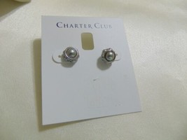 "Charter Club 5/16"" Silver Tone Grey Kiska Pearl Stud Earrings H886 - $8.63"