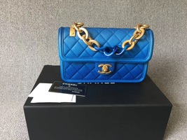 100% AUTHENTIC CHANEL 2019 BLUE OMBRE SUNSET ON THE SEA FLAP BAG RECEIPT RARE