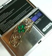 VINTAGE 12K GOLD FILLED OPEN BACK GREEN GLASS CABOCHONS SCROLL WORK BRAC... - $40.00