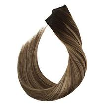 Ugeat 18inch One Piece Hair Extensions Clip in Real Human Hair #4/27/4 Balayage  image 6