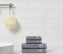 4 pk Hand & Wash Towel Set W/Locker Loops Made By Design - Flat Gray- BRAND NEW image 2