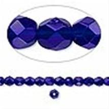 4mm Cobalt Blue Faceted Round Fire Polished Czech Glass Beads 100 Preciosa - $2.48