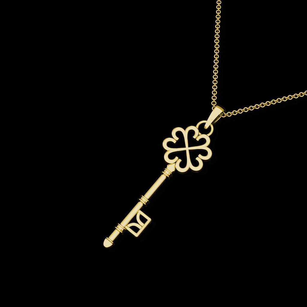 "Key Pendant Solid 14K Yellow Gold Charm 18"" Cable Chain Necklace Skeleton Design"