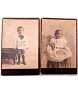Unusual pair of children photos My Mama Uses Atlas Flour vintage photos  - $95.00