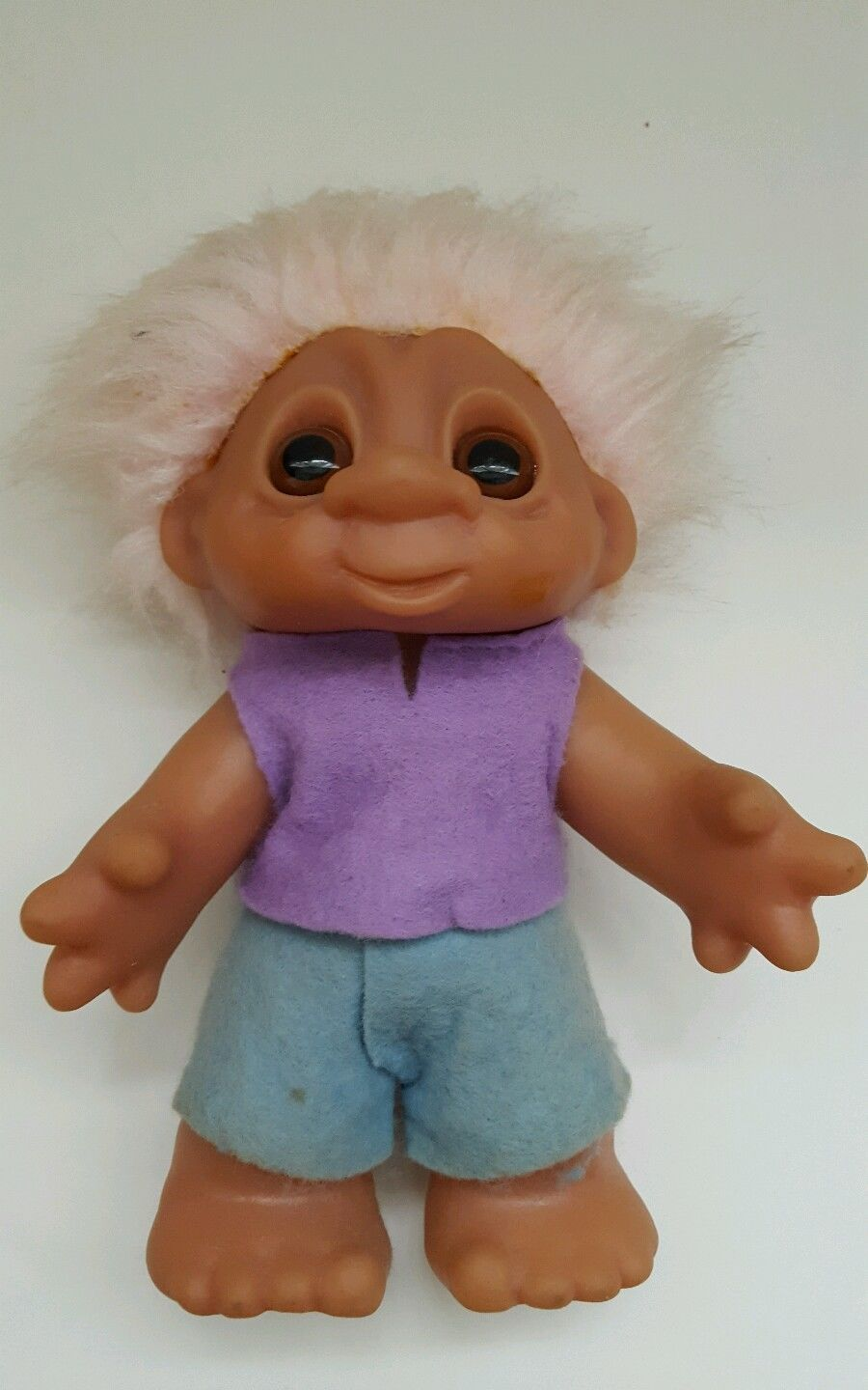 Vintage 3 DAM NORFIN TROLL Dolls Figures with Felt Satin clothes Made in Denmark