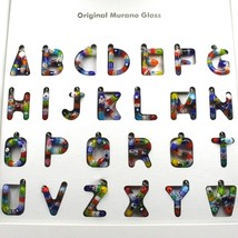 "LETTER T PENDANT MURANO GLASS MULTI COLOR MURRINE 2.5cm 1"" INITIAL MADE IN ITALY image 2"