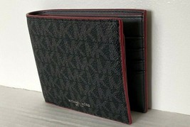 New Michael Kors Cooper Men's Billfold wallet with Passcase Black / Crimson - $59.00