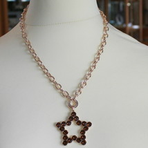 ROSE BRONZE REBECCA NECKLACE BIG STAR WITH BROWN CRYSTAL CT 20.00 MADE IN ITALY image 1