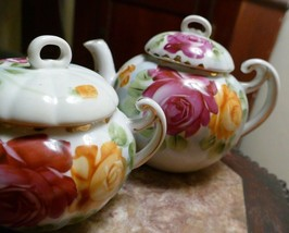 Beautiful Hand Painted Nippon Tea Pot Cabbage Roses & Sugar Bowl &.3 Saucers - $49.99
