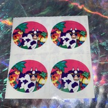 90s Lisa Frank ISLAND PARADISE COW WITH SUNGLASSES Sticker mods 4 Total