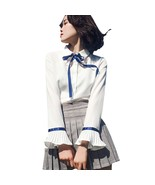 Women Flare Sleeve Bowknot Chiffon Blouse Long Sleeve Button Down White ... - $44.40