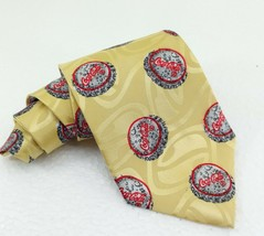 Cravatta Coca-cola nuova vintage gialla 10 cm da collezione rari tema tappi - $22.94