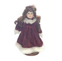 Porcelain Doll w/ Wings Burgundy Dress Brown Hair Blue Eyes w/ Stand Chr... - $32.67