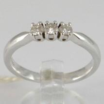 WHITE GOLD RING 750 18K, TRILOGY 3 DIAMONDS CARAT TOTAL 0.20, STEM SQUARE image 1