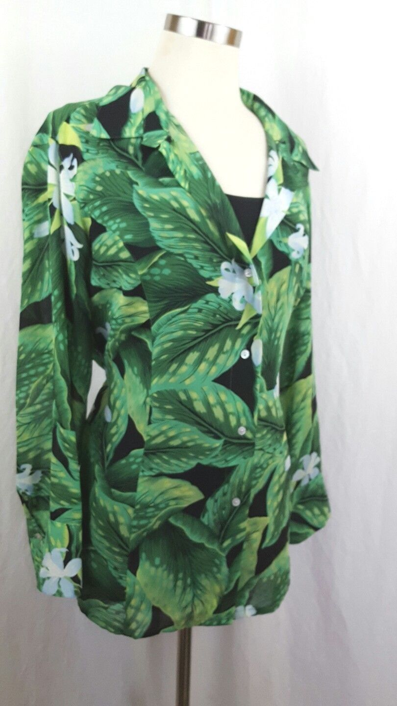 Button Down Dress Shirt Laura Scott Size 18 Sheer Green Day Lilly Print Top