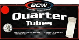 50 BCW Round Clear Plastic Quarter 24 mm Coin Tubes w/ Screw-On Cap - $22.55