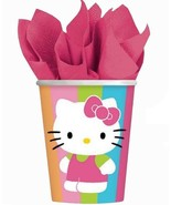 Hello Kitty Flower Stripes 9 oz Paper Cups 8 Per Package Birthday Party ... - $4.90
