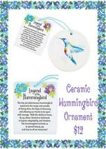 Brand New Ceramic Hummingbird Ornament - $6.16