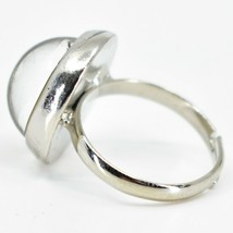 Classic Simple Silver Tone Round Cabochon Color Changing Adjustable Mood Ring image 2