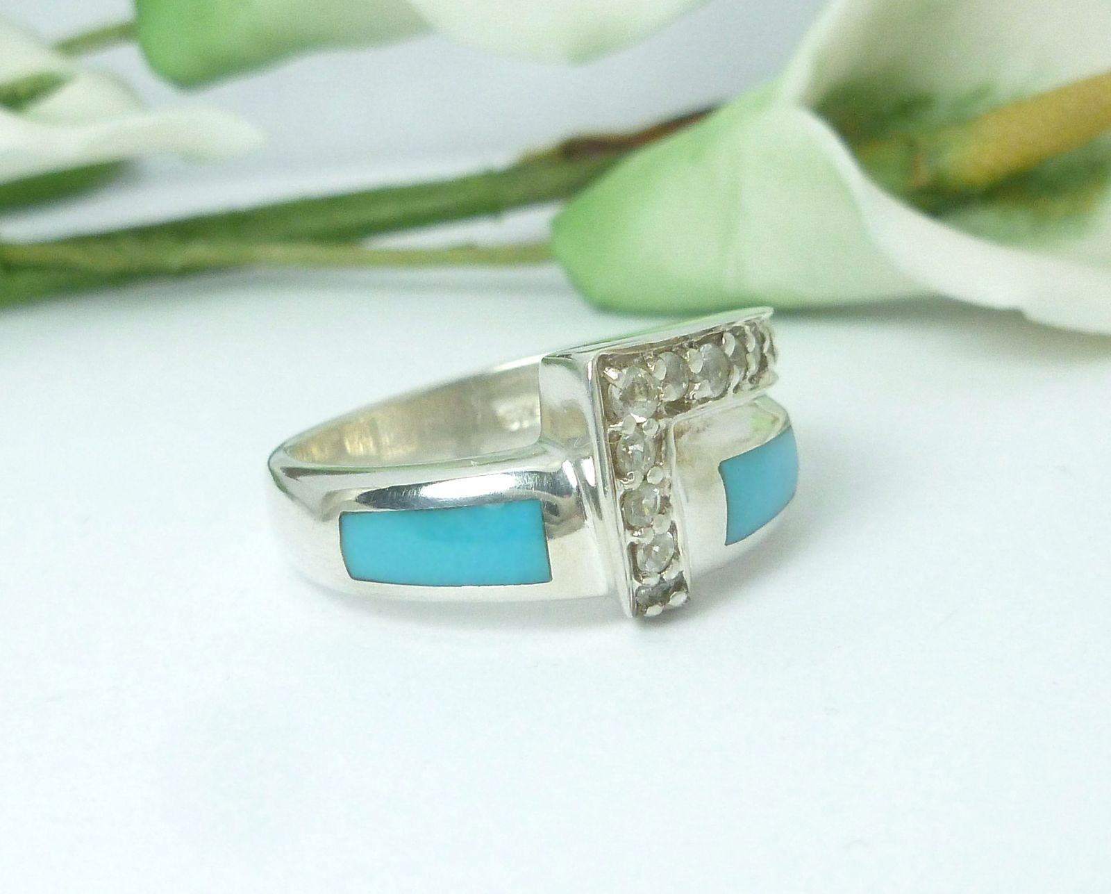 Sterling Turquoise Stone Inlay and White Topaz Band Ring