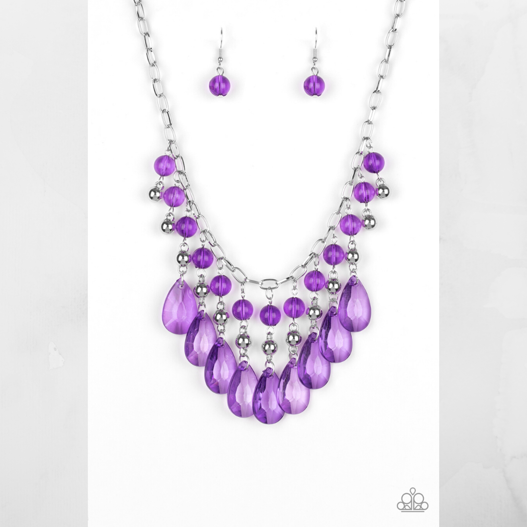 Primary image for Beauty School Drop Out - Purple Necklace & Earring Set $5.00
