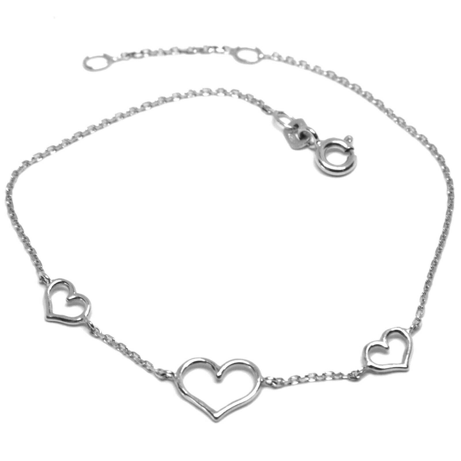 18K WHITE GOLD SQUARE ROLO MINI BRACELET, 7.5 INCHES, 3 HEARTS, MADE IN ITALY