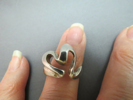 Vintage Sterling Silver Heart Ring Abstract Artistic 925 Open Back 6.84g... - $39.59