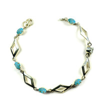 Genuine Oval Turquoise Silver For Women Link-Bracelets Prong Style Lengt... - $35.64