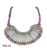 Traditional Oxidised Silver Multi-Colored Thread Choker Necklace Fashion... - $411.20