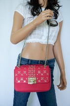Michael Kors Tina Med Shoulder Flap Leather Chain Bag Ultra Pink Silver Studded - $128.69