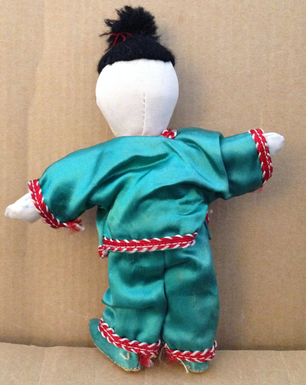 Vintage 1950s Ada Lum Style Chinese Stuffed Cloth Green Silk Pajamas Boy Doll