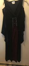 California Costume Red Black Velvet Long Wench Dress Lace Up Bodice Peplum sz S - $19.80