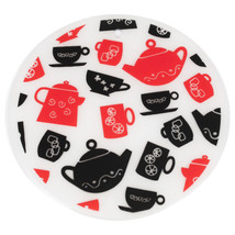"""7.5"""" Round Silicone Trivet Set- Tea Cup Party Mugs Teapot Design - 2 pack - $7.99"""