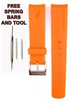 Nautica A14612g 22mm Orange Diver Rubber Bracelet de Montre Anti Allergique - $28.61