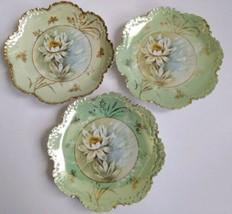 """3 Antique R C Rosenthal China Monbijou Bavaria Lotus 8"""" Porcelain Ruffle... - $63.69"""