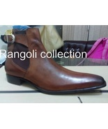 Men Brown Color Ankle Boots, Men Brown Chelsea Boots, Leather Boots For Men - $179.99