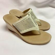 UGG Solena Sz 8W Cream Leather Wedge Thong Shoe Sandal F30012L - €43,56 EUR