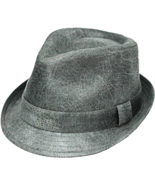 Henschel Faux Leather Stingy Brim Fedora Satin Lined Pinchfront Gray Brown - $49.00