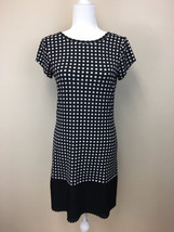 Michael Kors XS Exra Small Black White Checker Pleated Hem Sheath Dress - $29.99