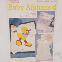 Baby Afghans 4 For Knit and Crochet 7 Designs Leaflet Leisure Arts 817 1... - $14.99