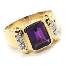 SOLID 18K YELLOW GOLD BAND RING, DIAMONDS & PURPLE AMETHYST, EMERALD CUT image 4