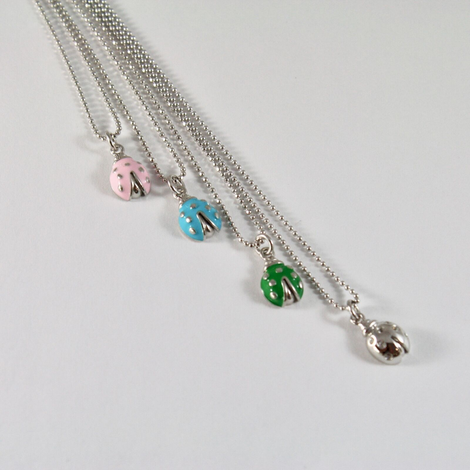 925 Sterling Silver Necklace Jack&co with Beads Shiny and Ladybug Enamelled 45