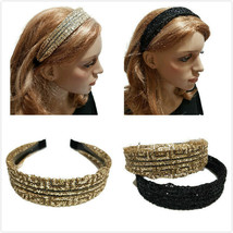 2 PC Gold Black Sequin headband wedding party Holiday bride mesh gauze h... - $15.88