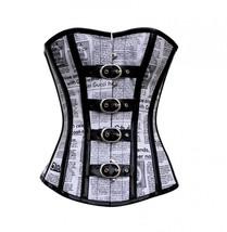 Newspaper Print Cotton Black PVC Leather Strips Waist Training Overbust Corset  - $69.99