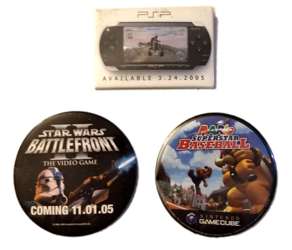 Mario Baseball / PSP / Star Wars Set of (3) Promotional Pin Back Buttons / Pins