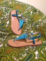 VINCE CAMUTO ITELLI WOMEN'S DRESS THONG SANDALS TURQUOISE GREEN FLATS MR... - $26.72