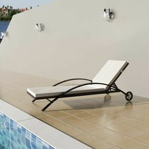 vidaXL Sun Lounger Poly Rattan Wicker Brown Outdoor Bed Chaise Seating G... - $116.99